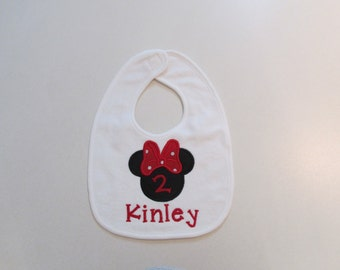 Baby Girls, Minnie Mouse Bib with Monogram and the Number 2