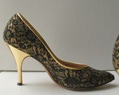 Pin Up Poster Black Gold Lace Pumps Heels by Fiancees RESERVED