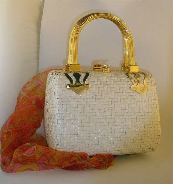 FREE Shipping Vintage White Weave Laquered Wicker KORET Box Purse 1960s