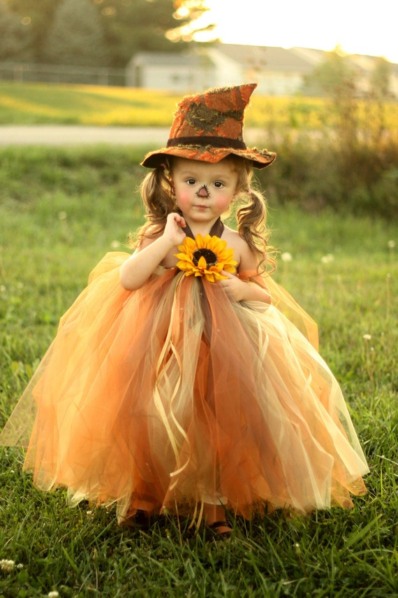 Sassy Little Scarecrow Tutu Dress and Matching Hat- sz 0-3 YRS