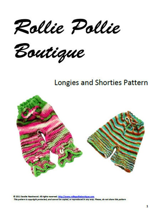 Rollie Pollie Boutique Longies & Shorties Knitting PATTERN