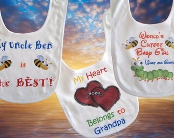 Personalized Baby Bib with Velcro Closure