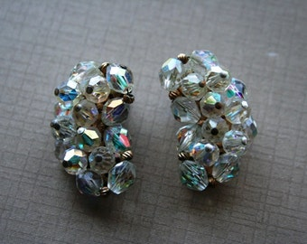 Aurora Borealis Rhinestone  and Crystal Vintage Cluster Earrings Pin Up Rockabilly Hollywood Glamour