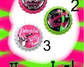 Bottle caps, School, Kindergarten Rocks, Lime Green. Pink, Bottlecaps