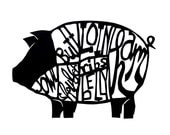 RESERVED for Leslie - Pig butchery chart - papercut print 13 x 19