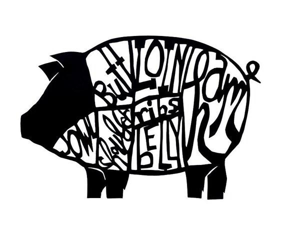 pig butchery chart papercut print