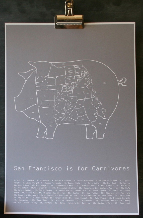 San Francisco is for Carnivores - grey poster