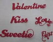 Red Hot Valentine Word Die cuts