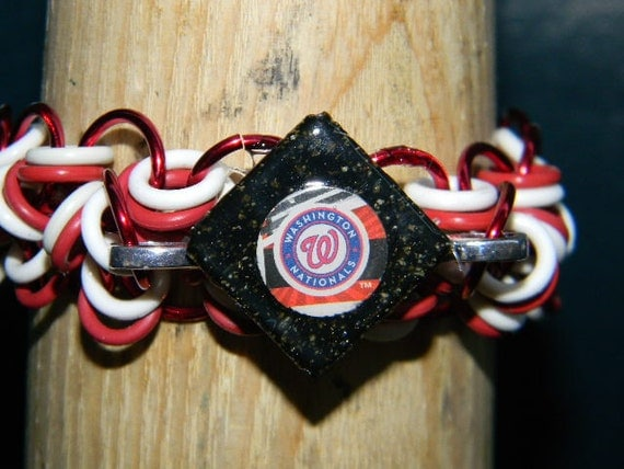 Washington Nationals Sportscard Glass Tile Chainmaille Bracelet