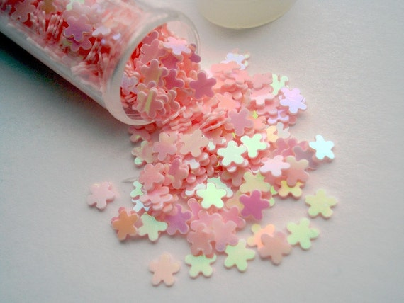 Craft Glitter Flower Shape Iridescent Pink - One Tube of Novelty Flowers