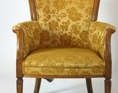 1950 Gold Floral Brocade Print Chair