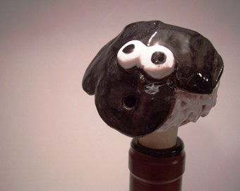 Black and White Sheep Wine Bottle Stopper