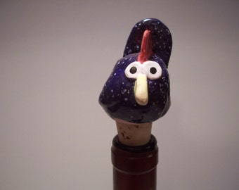 Navy Blue Speckled Rooster Wine Bottle Stopper