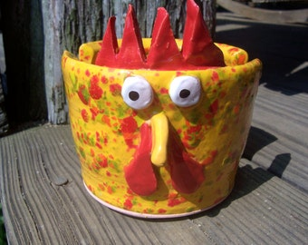 Bright Yellow with Red Speckles Rooster Sponge holder, Napkin holder, Envelope holder