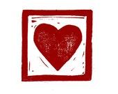Linocut - One Heart