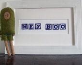 Linocut - Hey Boo (black and white)