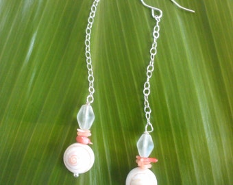 Seven Seas Dangle - all sterling silver w/ seashells, coral & glass beads