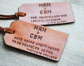 2 Custom Leather Luggage Tags -Up to 8 lines - Unique Gift for Boyfriends, Husbands, 2011 Graduation, Fathers Day, or Vacation Travel.
