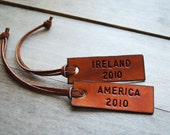 2 Leather ID Tags. Personalize with your name, date, address, etc.