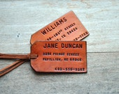 As seen in COUNTRY LIVING. Set of 2 Custom Leather Luggage Tags. Stamped with Your Name, Address, and Phone Number.