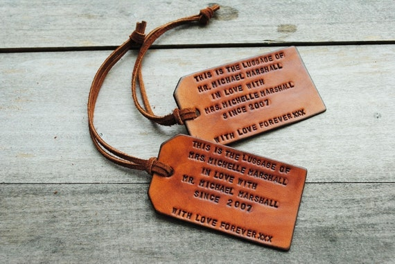 2 Custom Luggage Tags - Up to 6 lines - WEDDING/HONEYMOON