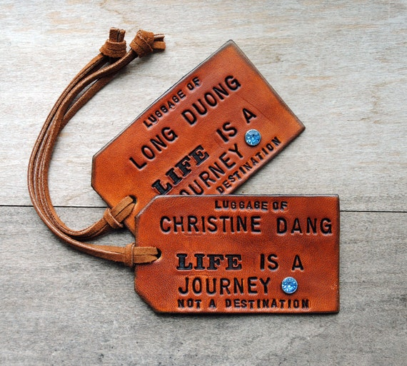 2 Custom Leather Luggage Tags - LIFE is a JOURNEY - Personalize with your names