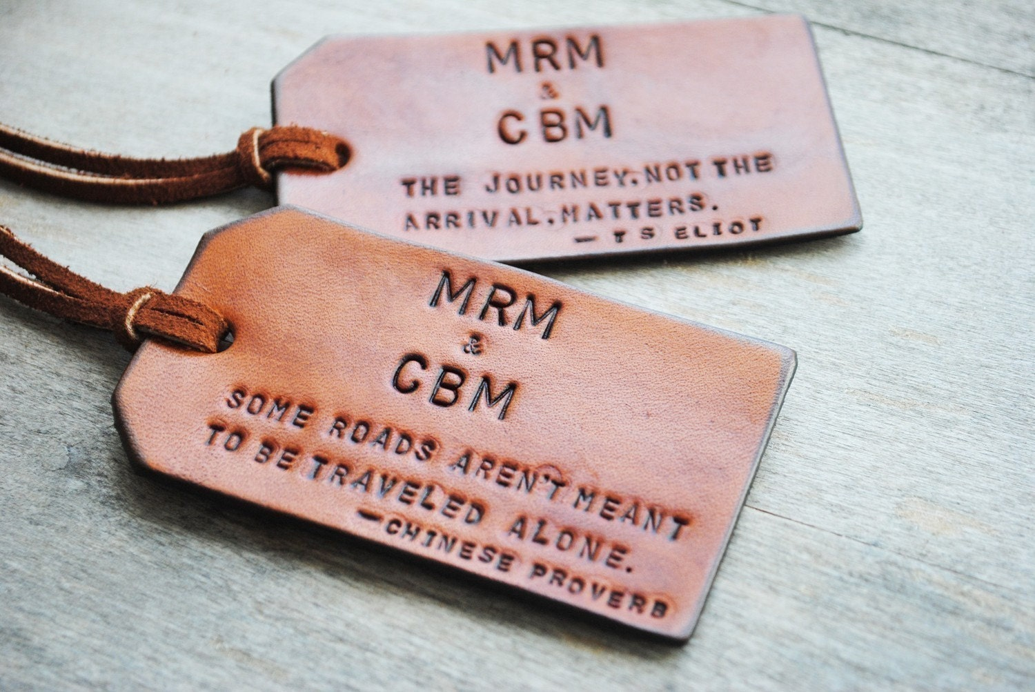 Items similar to 2 Custom Leather Luggage Tags -Up to 8 linesUnique ...