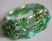 Two Green Beaded Mix and Match Wraparound Bracelets