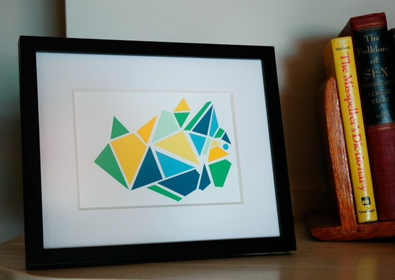 RESERVED FOR ANDY Geometric Paint Chip Art - Blue Green Yellow Triangles- One of a Kind - 8x10 Framed