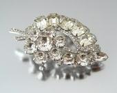 EISENBERG Rhinestone Brooch - Signed Clear Flower Leaf - 1950s Vintage Jewelry