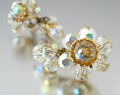 Glass Dangle Earrings - Faceted Aurora Borealis Crystal Clip On - Vintage 1950s Costume Jewelry