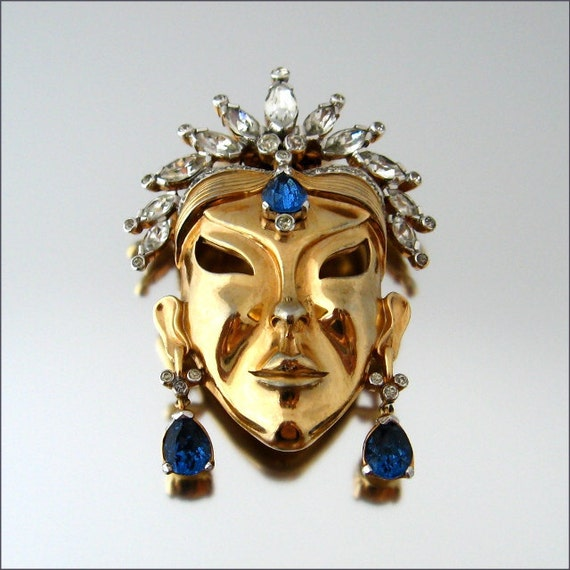RESERVED -- MAZER Mask Fur Clip - Signed Face Figural Blue Rhinestone Brooch - 1940s Vintage Jewelry