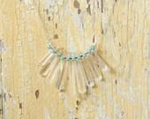 Crystal and Rhinestone Bib Necklace by Prairieoats