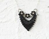 Chevron Black Bib Statement Necklace by Prairieoats