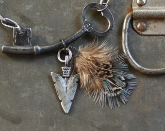 Fly - Skeleton Key and Arrowhead Necklace