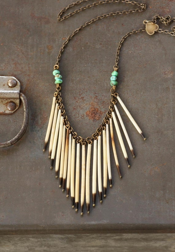 Reserved for Jill - Tiger Lily Mini - Porcupine Quill and Turquoise Fringe Necklace by Prairieoats