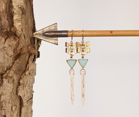 Blue Sky - Modern Pioneer Chevron Spike Drop Earrings by Prairieoats