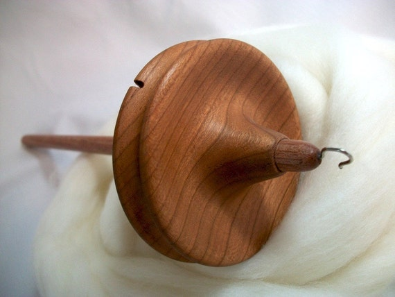 Llampetia Hand-Turned Cherry Drop Spindle/ Top Whorl 46 Grams