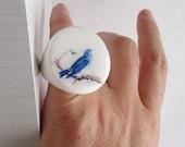 Blue Bird Ivory White Ring (size 5)