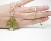 Winter Pine Tree Resin Pendant