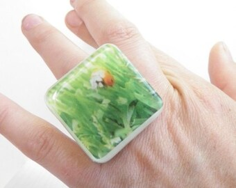 Sz 5.5 LadyBug in the Grass Resin Ring