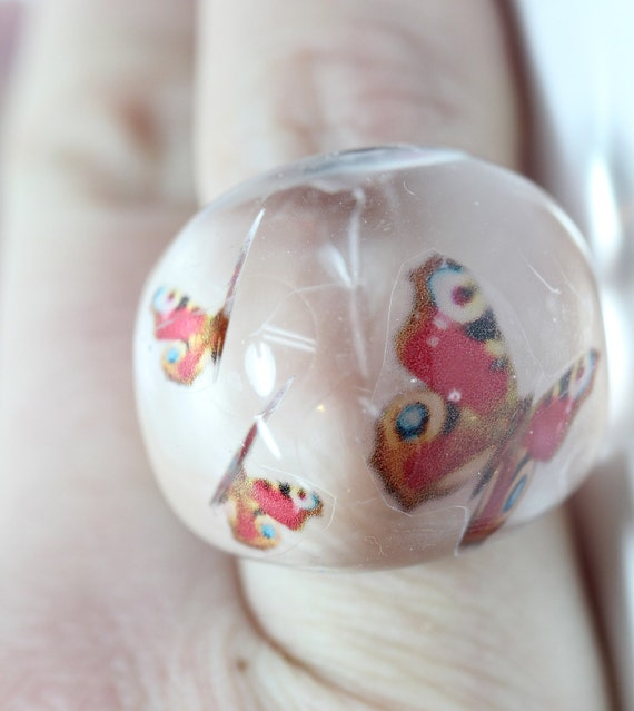 Sz 8.5 Floating Butterfly Resin Bubble Ring