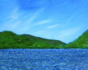 Original Painting in Adirondacks, From the Dock at Star Lake, Oil paint