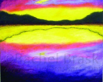 Sunset over Lake Original Painting with Bold Colors called Horizon Hovering