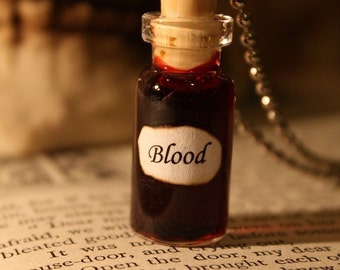 Glass Vial Necklace - Blood - Halloween Jewelry