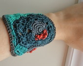 Gray, Emerald and Coral Super Soft Cotton Freeform Crochet Cuff Bracelet