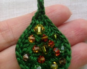 SALE FREE SHIPPING  Green Drop EMBROIDERY FLOSS Crochet Cotton Pendant with Swarovski crystals By anadiazarte