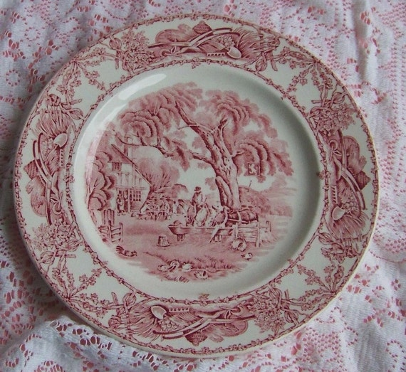 Vintage Clarice Cliff Red and White Rural Scenes Royal Staffordshire Dinnerware Plate