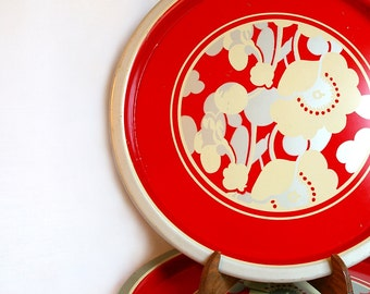 6 Red, Floral Metal Serving Trays
