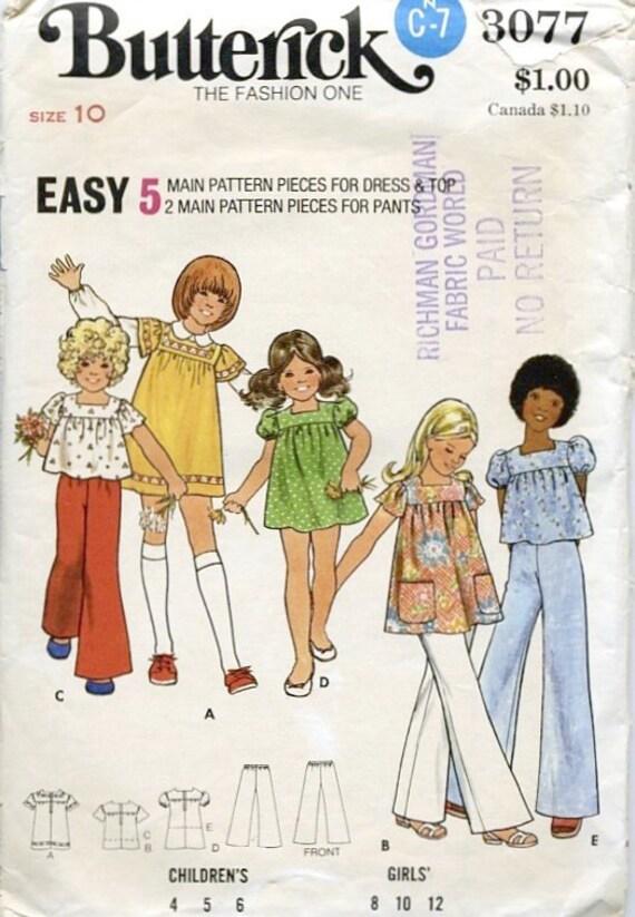 Vintage Butterick Pattern 3077, Girls' Size 10 - free shipping